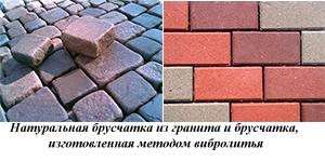 Натуральная и искусственная брусчатка из бетона
