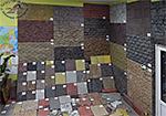 Образцы брусчатки, тротуарной и фасадной плитки, цокольного сайдинга в офисе