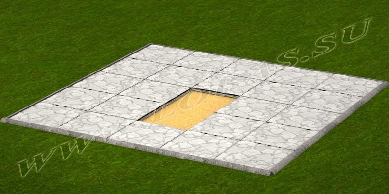 Схема укладки тротуарной плитки для установки цветника с ритуальным памятником.