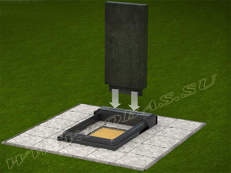 Установка стелы памятника в паз цветника